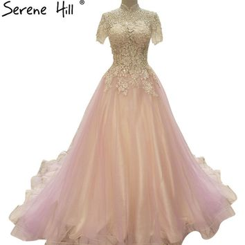 Pink High Collar Evening Dress Appliques Pearls Short Sleeve Tulle Evening Party Dress