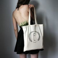 hand screenprinted cotton shopping bag hand screen printed cotton bag personalized letter tote bag monogram