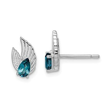 Sterling Silver London Blue Topaz Wings Post Stud Earrings