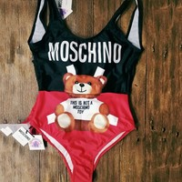 Moschino Cute Bear Prints Halter One Piece Swimsuit Bikini B/A