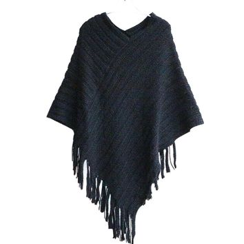 Women's Black Asymmetrical Fringe Shawl Scarf Sweater Cape