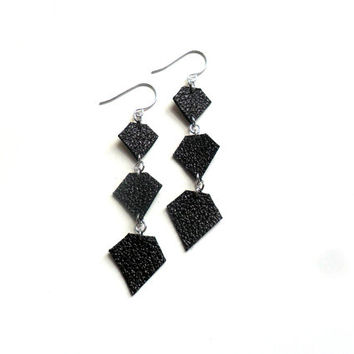 Long black diamond earrings, metallic leather jewellery handmade in the UK