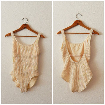 Vintage 90s One Piece Cream Crochet Mesh Bathing Suit Low Back Leotard Medium