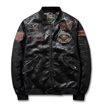Trendy MORUANCLE Fashion Mens Leather Bomber Jacket With Patches PU Flight Pilot Jackets And Coats For Man Outerwear Plus Size S-4XL AT_94_13