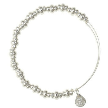 Alex and Ani Nile Beaded Bangle Bracelet Shiny Silver Finish, BBEB16SS