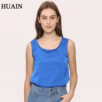 Satin Top Women Tank Top Sleeveless Shirt Fitness Lady Summer New 2017 Fashion O-Neck Solid Color Casual Faux Silk Female Shirt