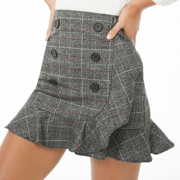 Double-Breasted Plaid Mini Skirt