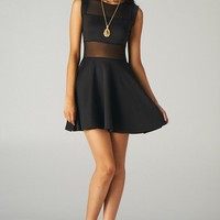 Mesh Panelled Fit and Flare Dress (Black)