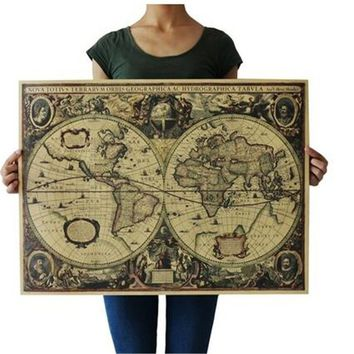 Home Decor Vintage Globe Old World Map Matte Brown Paper Poster Home Supplies