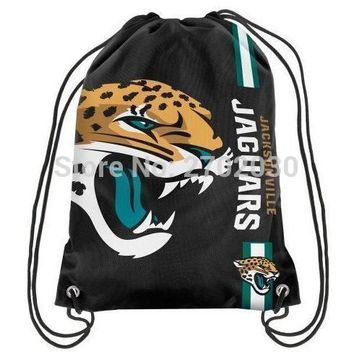 Jacksonville Jaguars Drawstring Bags Men Sports Backpack Digital Printing Pouch Customize Bags 35*45cm Sports US Fottball Team