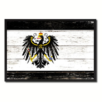 Kingdom of Prussia Germany Historical Military Flag Vintage Canvas Print with Picture Frame Home Decor Man Cave Wall Art Collectible Decoration Artwork Gifts