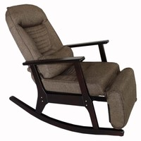 Rocking Recliner Chaise Japanese Style Chair with Foot Stool Armrest