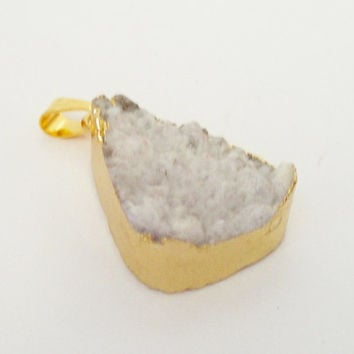 White Druzy Druze Dipped in Gold Triangle Pendant, White Drussy Druzzy Drusy Stone Pendant With Loop, Select  With Or Without Chain