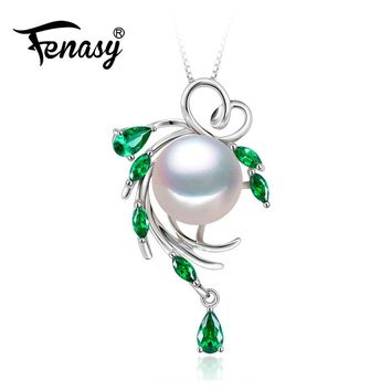 FENASY 925 sterling silver flower necklace ,pearl jewelry statement necklace ,Pearl pendant for women beryl Bohemia necklace