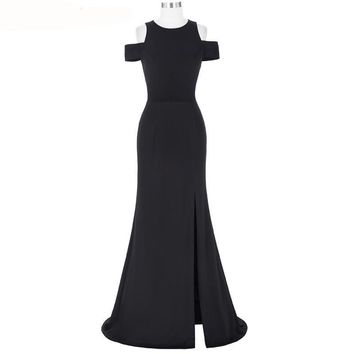 Women Black Prom Dresses Cap Sleeve Cocktail Dress Long Prom Gowns Special Occasion Dresses