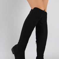 Bamboo Quilted Suede Stretchy Over-The-Knee Riding Boots