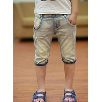 Boys Casual Denim Shorts With Embroidered / Printed Designs