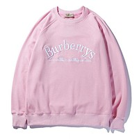 Burberry Fashion Embroidery Logo Pink Pullover Sweater I13157-1