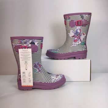Joules Girls Mid Height Print Welly Waterproof Rain Boot, Size 2