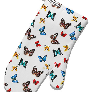 TooLoud Watercolor Butterflies AOP White Printed Fabric Oven Mitt All Over Print