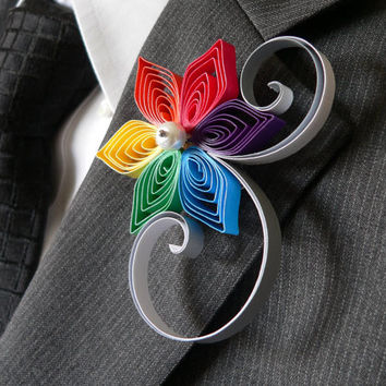 Rainbow Boutonniere, Rainbow Wedding, Multi-Colored Flower Lapel Pin