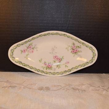 B & Co Bernardaud Limoges Pink Rose Dish Vintage French China Celery Dish Cookie Tray Shabby Chic French China French Cottage Chic Dish
