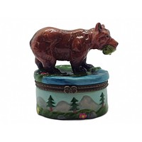 Jewelry Boxes Bear With Salmon