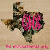 Camo State Sticker of Texas or any other state Monogram Car Decal Sticker