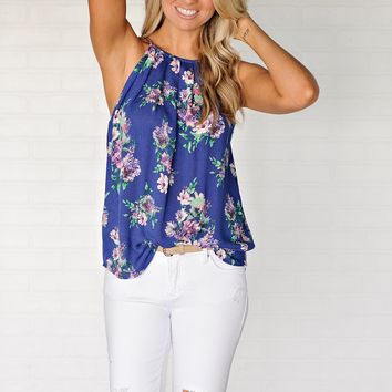 * Lewes Floral High Neck Tank With Button Down Back : Blue