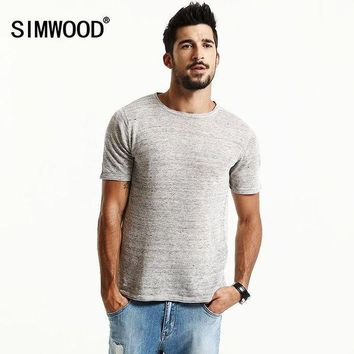 PEAPFS2 SIMWOOD Brand New Summer Short Sleeve T shirts Men 2018 100% Pure Linen  Fashion Tees Plus Size  O neck  Clothing  TD1171