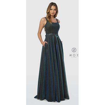 Peacock Glitter Metallic Long Prom Dress with Pockets