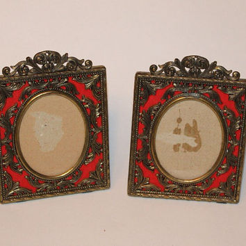 Set of 2 Vintage Ornate Italian Brass Photo Frames