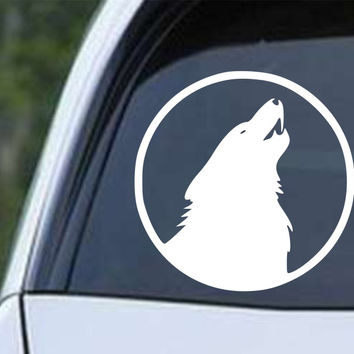Wolf Howling (e) Die Cut Vinyl Decal Sticker
