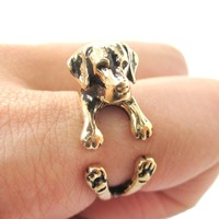 3D Labrador Retriever Shaped Animal Wrap Ring in Shiny Gold | Sizes 4 to 8.5