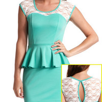 Lace Inset Peplum Dress