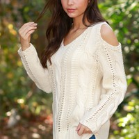 First Kiss Cut Out Sweater Ivory