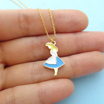 Alice, Wonderland, Movie inspired, Cute, Girl, Gold, Necklace, Minimal, Dainty, Jewerly for her, Birthday, Necklace, Christmas, Gift