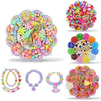 Kids Toy DIY hand beaded bracelet Jewelry beads necklace toys craft supplies / 4 color options