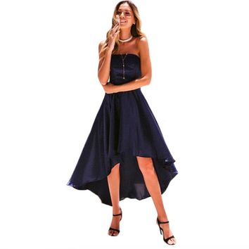 Women sexy patchwork Summer Dresses fashion backless strapless Off Shoulder Irrugular Dress female holiday casual Vestidos