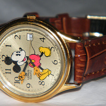 The Walt Disney Co Lorus Mickey Mouse Character Quartz Watch with Leather Band