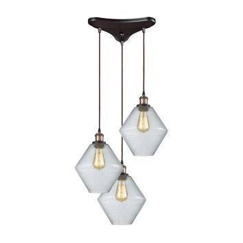 56510/3 Raindrop Glass 3 Light Triangle Pan Pendant In Antique Brass/Oil Rubbed Bronze With Clear Raindrop Glass - Free Shipping!