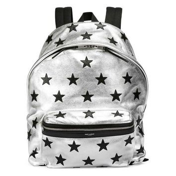 Silver Metallic Black Stars Backpack by Saint Laurent