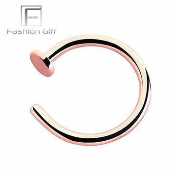 ac DCCKO2Q Rose Gold Color Fake Nose Rings False Piercing Body Jewelry G23 Titanium Hoops