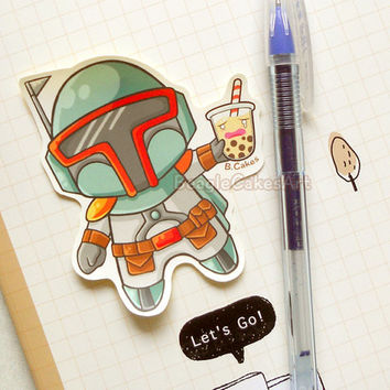 Boba Fett with Boba Tea Sticker. Anime Stickers. Laptop Sticker. Art Stickers. Anime Sticker. Funny Sticker. Humor Sticker. Geek Sticker