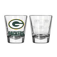 Green Bay Packers Shot Glass - 2 Pack Satin Etch