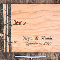 Wooden Wedding Guest Book, Wooden Wedding Book, Squirrels Guest Book, Squirrel Wedding, Guest Book Wooden, Personalized Guest Book Love Tree