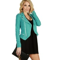 Mint Asymmetrical Moto Jacket