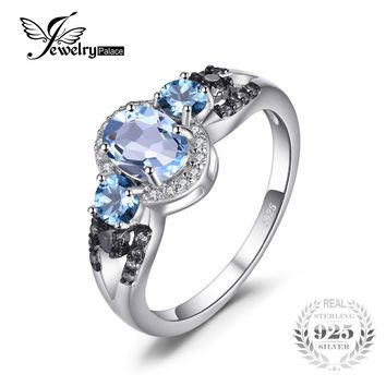 JewelryPalace 1.6ct Natural 3 stones Sky Blue Topaz Ring 100% Rear 925 Sterling Silver Fine Jewelry Engagement Rings For Women