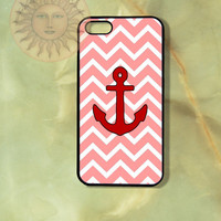 Pink Chevron Red Anchor-iPhone 5, 5s, 5c, 4s, 4, ipod touch 5, Samsung GS3, GS4 case-Silicone Rubber or Plastic Case, Phone cover