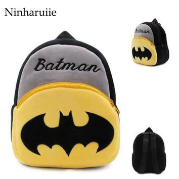 Ninharuiie Cute Plush Cartoon Batman Backpack kindergarten Boy Character Lovely Baby School Bag Gift For Kids and Children Gril